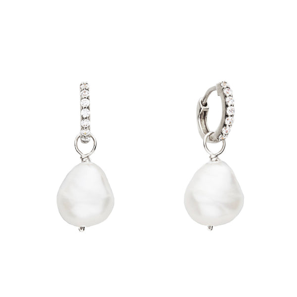 Silver Huggie Pearl Drop Earrings