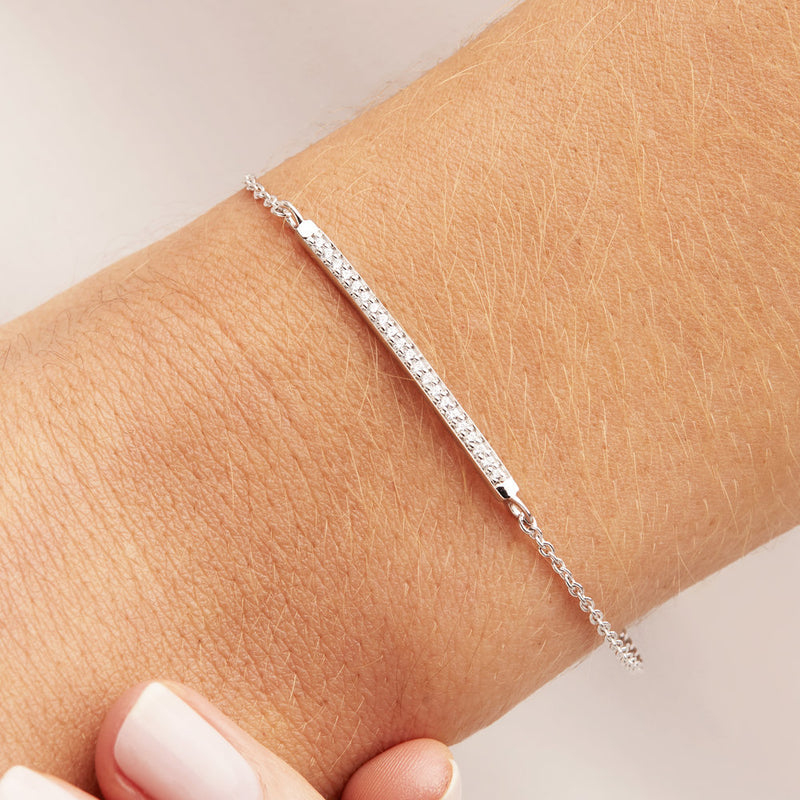 Silver Diamond Style Bar Bracelet