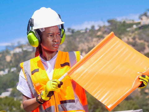 Woman wearing ear protection PPE