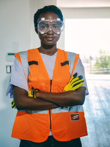 Woman donning Safety Glasses