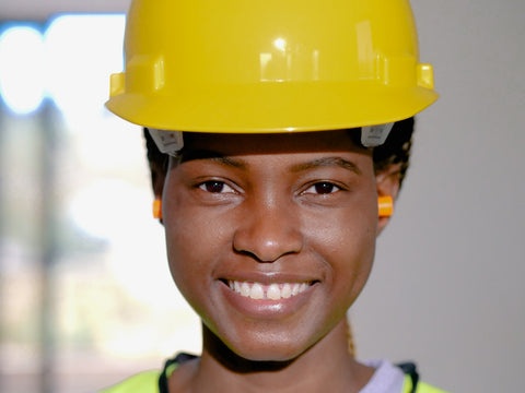 Woman wearing Ear protecting PPE