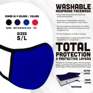 Black Neoprene Washable Face Mask With Antiviral Filter