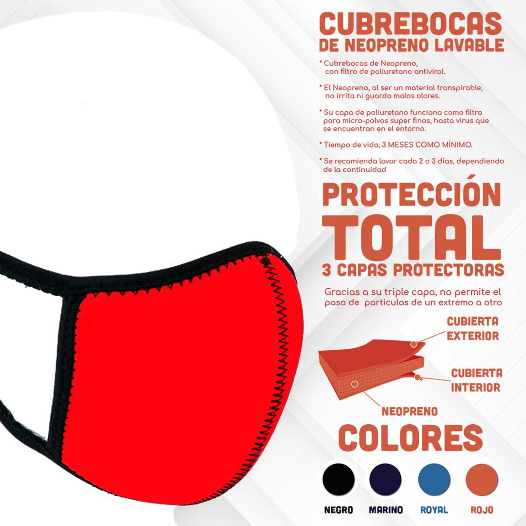 Red Neoprene Washable Face Mask With Antiviral Filter