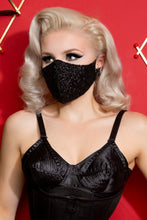 Load image into Gallery viewer, Black Sequin Fitted Face Mask with Filter Pocket