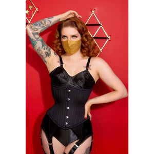 Gold Sequin Fitted Face Mask with Filter Pocket