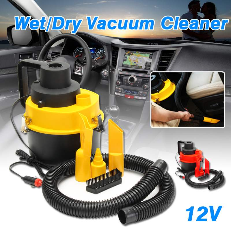 12V 75W Portable Wet/Dry Mini Vac Vacuum High Power Cleaner Kit Inflator Turbo HandHeld Dust Collector Aspirator for Car Shop