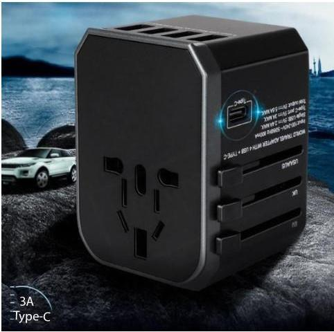 Travel Plus: Universal Fast Charge Travel Adapter With 4 USB Ports and 1 USB Type C Port