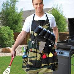 Barbecue Apron: Waterproof Multi-Pocket Barbecue Utensils Set