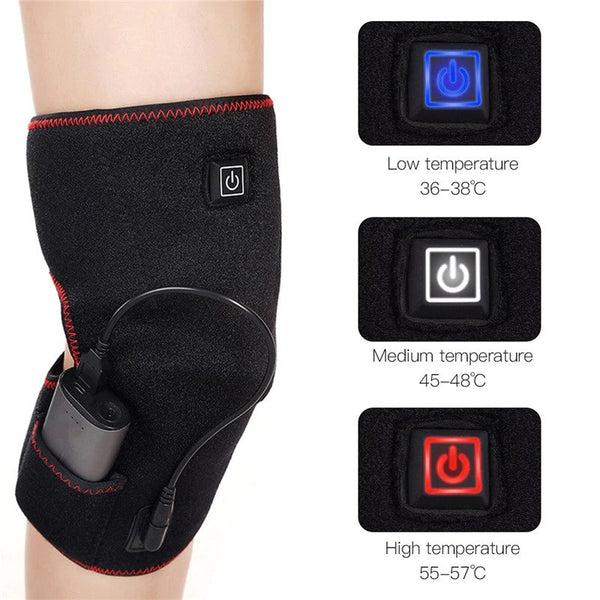 USB Heated Warm Knee Pad Brace Wrap Pain Relief Rechargeable Knee Heating Support Brace Electric Massager Adjustable Temperature
