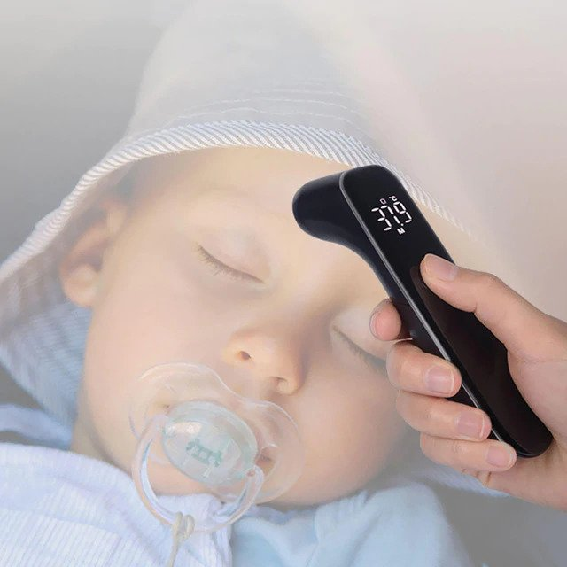 Hot sales Digital Smart Infrared Forehead Thermometer Baby High-tech Intelligent Screen Measure Temperature Fever Warning Body Black