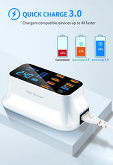 8 Ports 3.0 USB Charger: With Lcd Display