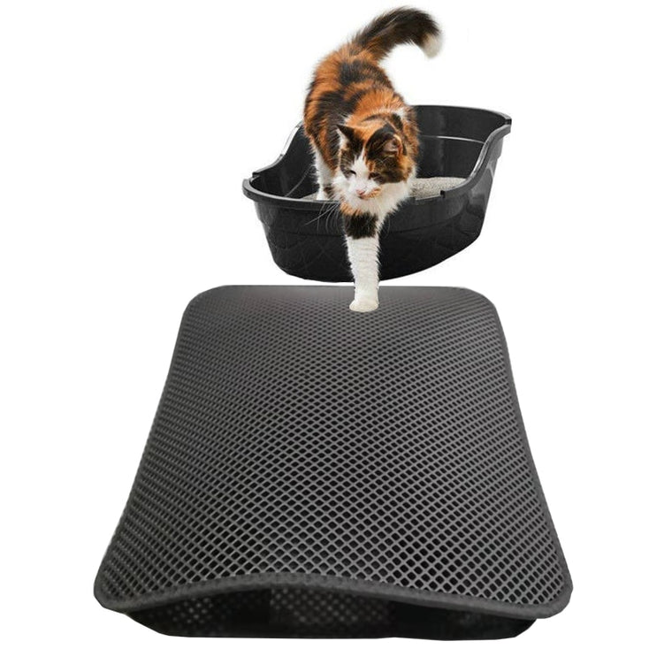 Soft surface Non-slip two-layer & Waterproof cat litter mat