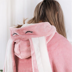 Blanket and pillow with button and hood with rabbit ears