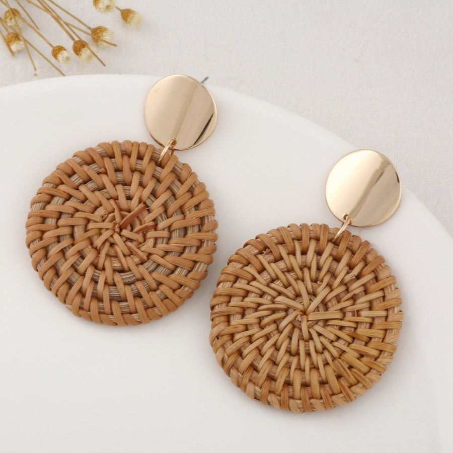 Boho Wicker Braid Full-Moon Earrings