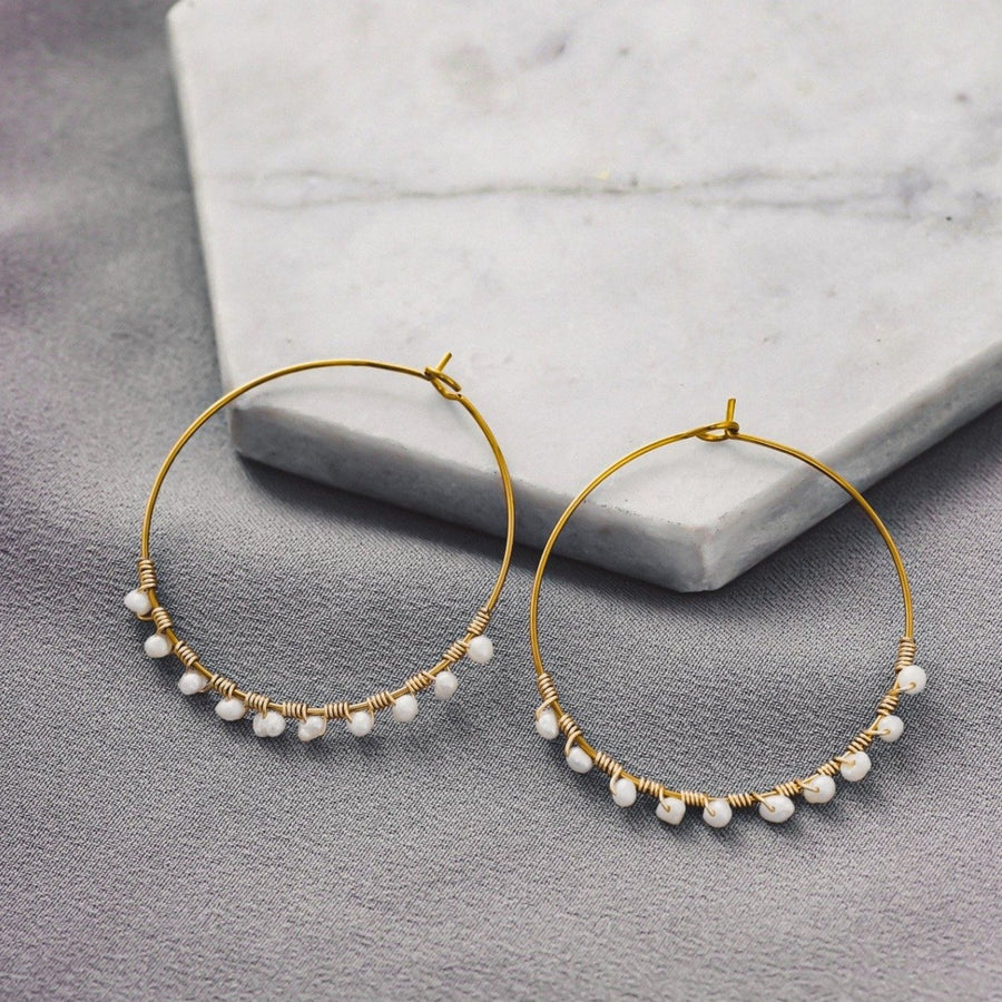 Hirsch & Timber: Freshwater Pearl Earrings Hoop