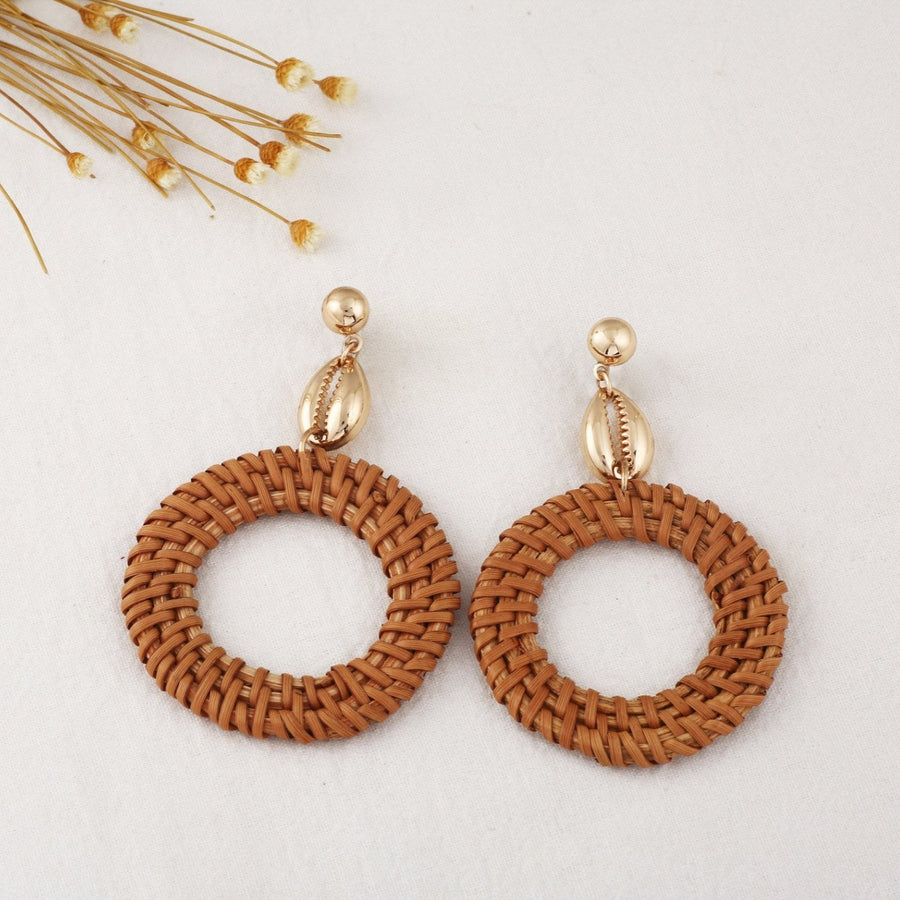 Hirsch & Timber Boho Rattan Seashell Drop Hoop Handmade Earrings.