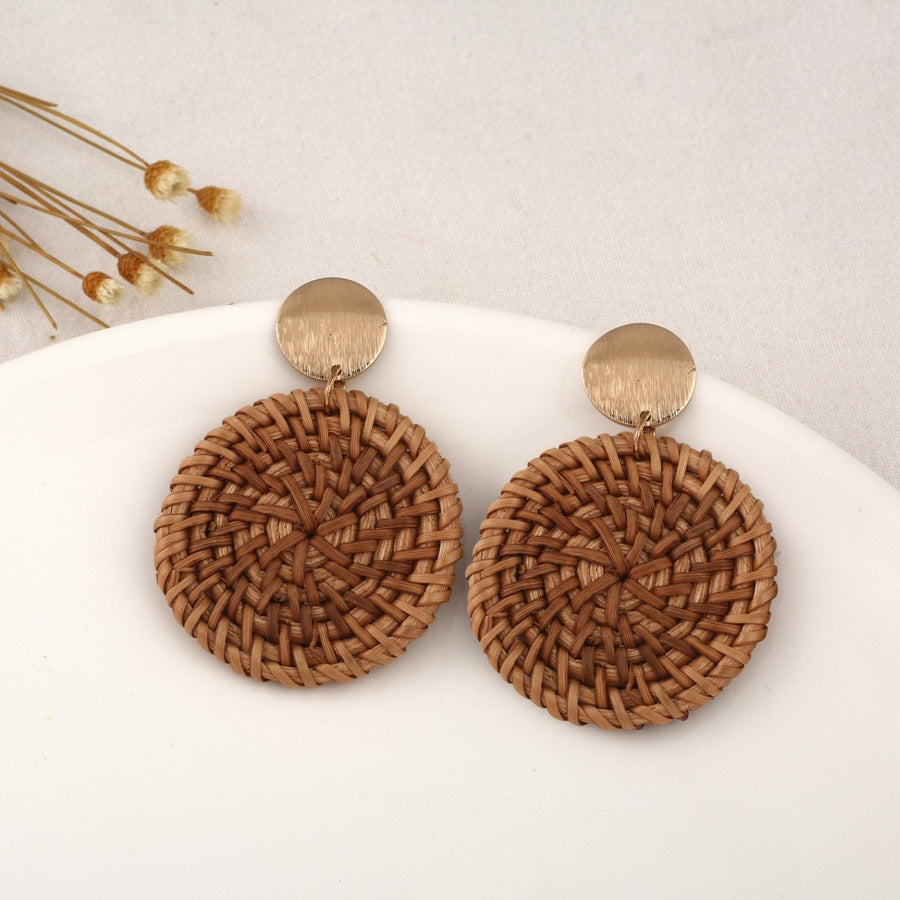 Boho Wicker Braid Mini Full-Moon Earrings