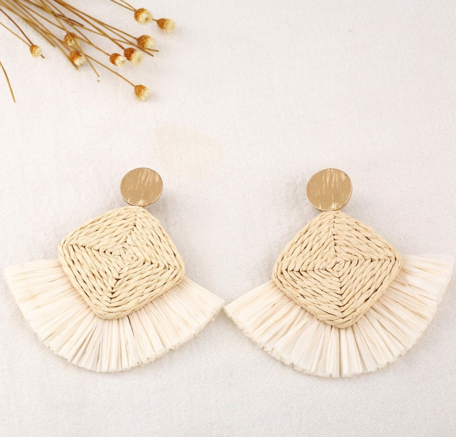 Hirsch & Timber Boho Diamond Raffia Rattan Statement Handmade Earrings.