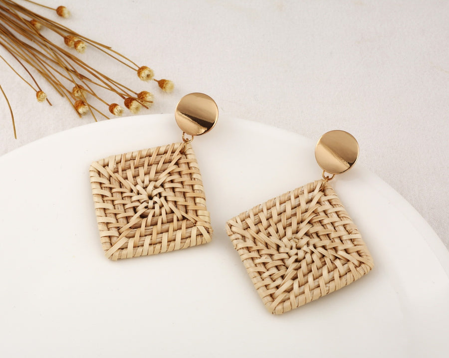 Hirsch & Timber Boho Mini Diamond Rattan Dangle Handmade Earrings