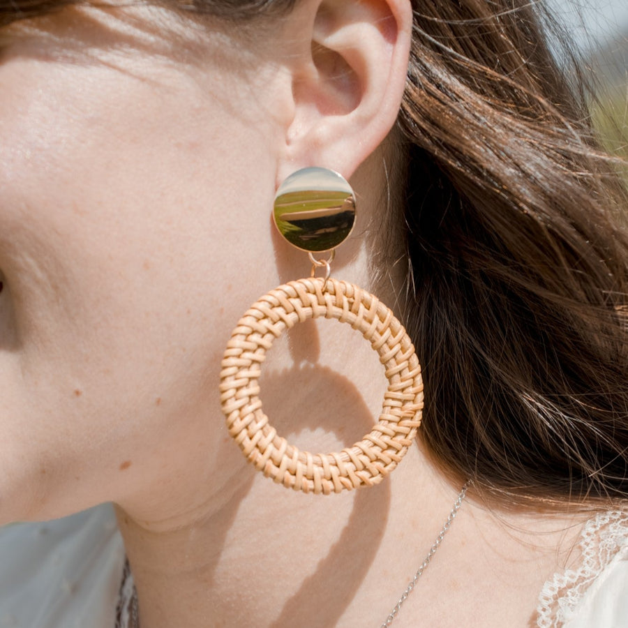 Boho Rattan Drop Hoop Earrings