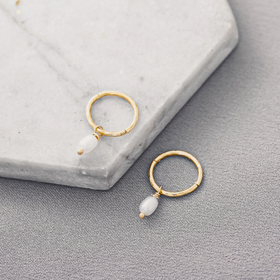 Hirsch & Timber: Freshwater Pearl Earrings Mini Charm Hoop