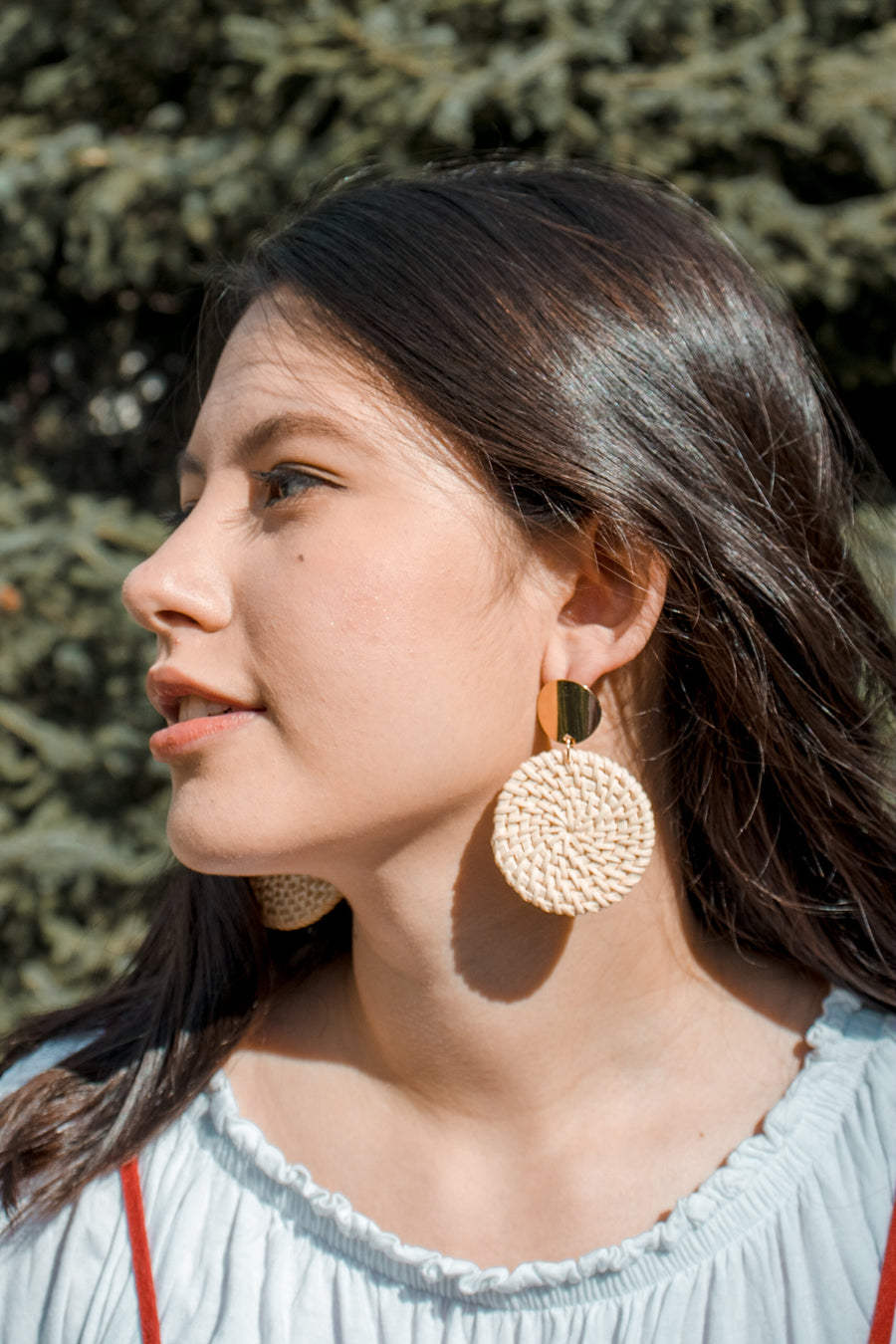Hirsch & Timber Handmade Earrings: Boho Wicker Braid Full-Moon Earrings