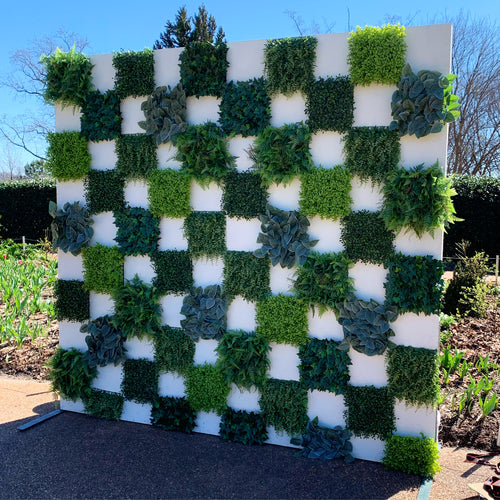 Lush Green Checkered Panels or Wall