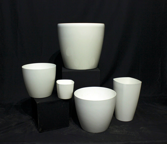 White Standard Cylindrical Tapered Decorative Pots