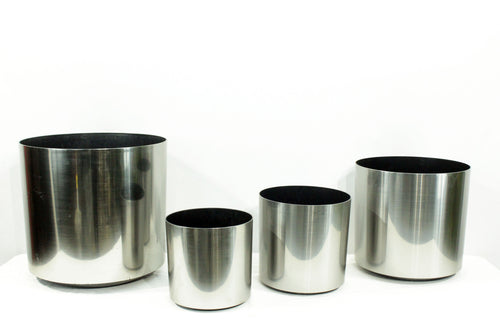 Brushed Aluminum (Silver) Standard Cylindrical Decorative Pots
