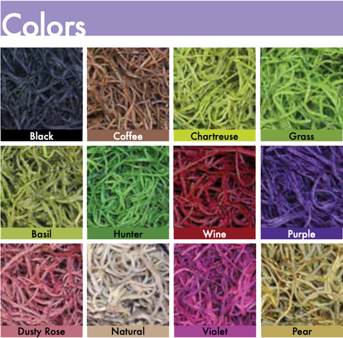 SPANISH MOSS (BULK) - Basil, Black, Chartreuse, Coffee, Dusty Rose, Grass, Hunter, Natural, Pear, Purple, Violet, Wine