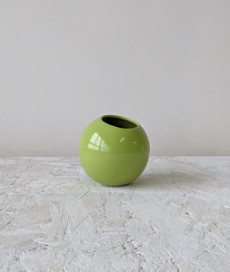 round handmade ceramic plant pot green