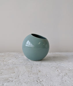 round handmade ceramic plant pot light blue