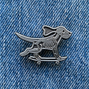 Skeleton Skate Dog Pin Silver