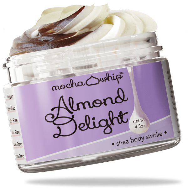 Mocha Whip Shea Body Swirlie, Almond Delight voted best whipped shea butter body butter handmade vegan