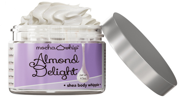 Mocha Whip Shea Butter Whippie, Almond Delight voted best whipped shea butter body butter handmade vegan