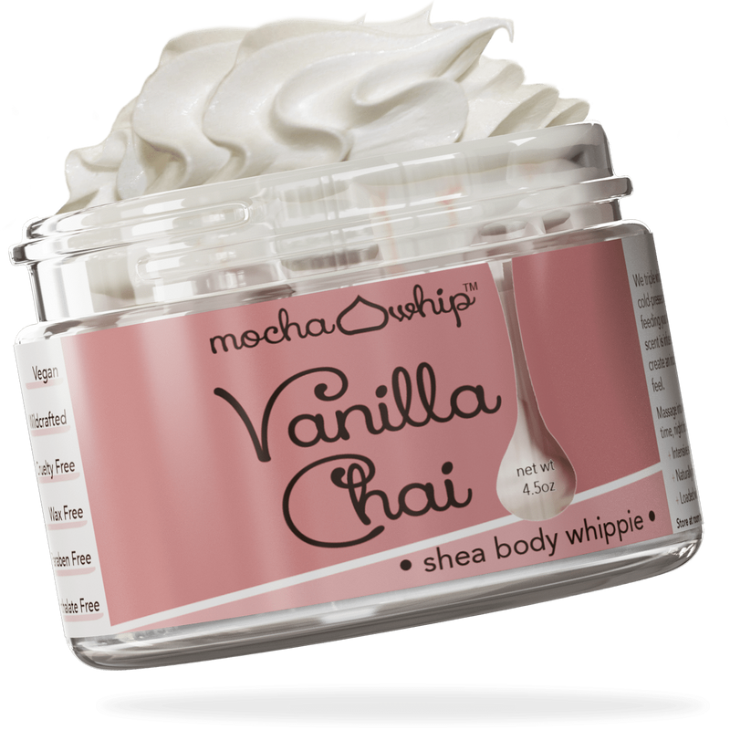 Mocha Whip Shea Butter Whippie, Vanilla Chai voted best whipped shea butter body butter handmade vegan