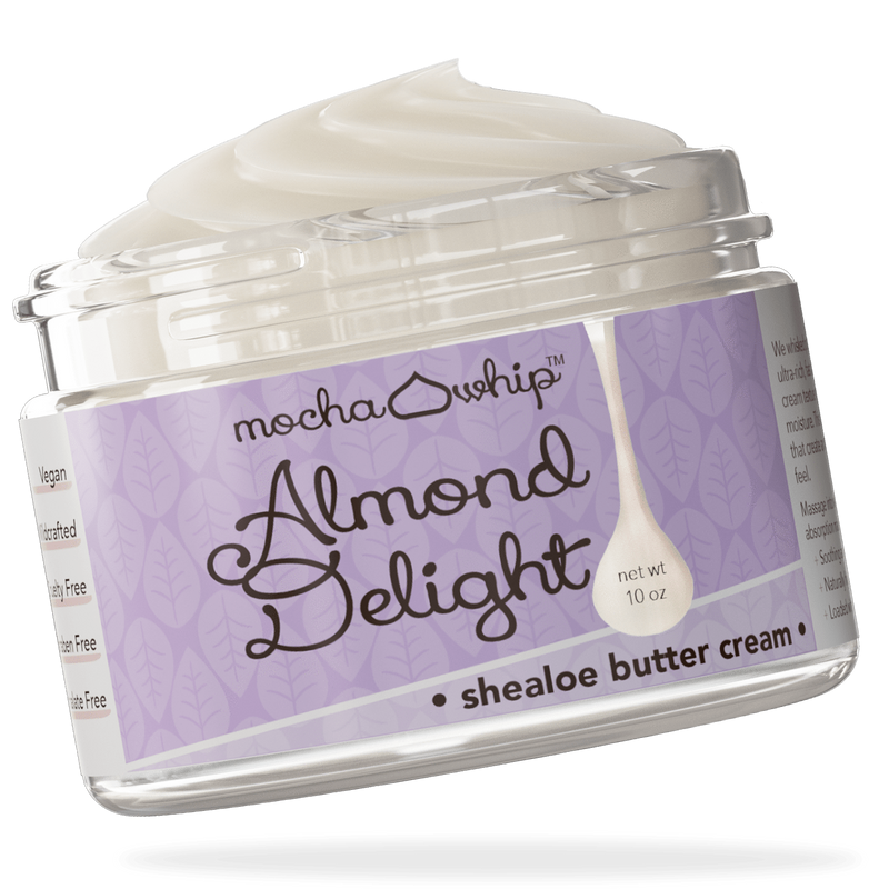 Mocha Whip Shealoe Butter Cream, Almond Delight voted best whipped shea butter body butter handmade vegan