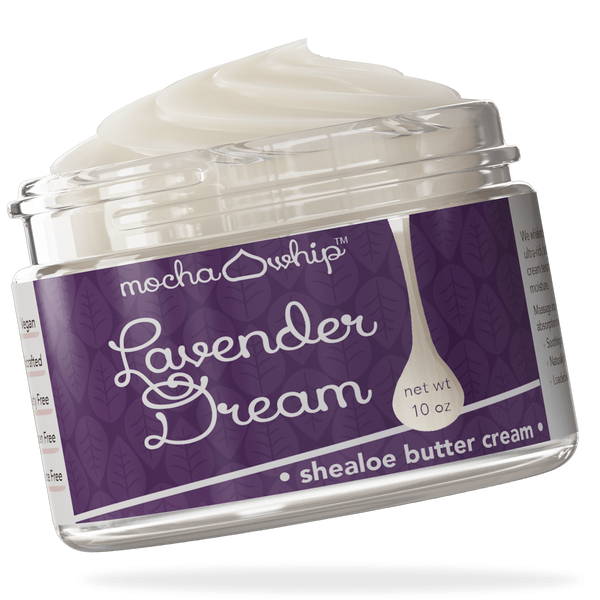 Mocha Whip Shealoe Butter Cream, Lavender Dream voted best whipped shea butter body butter handmade vegan