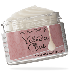 Mocha Whip Shealoe Butter Cream, Vanilla Chai voted best whipped shea butter body butter handmade vegan
