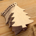 10pcs Wooden Round Baubles Christmas Trees