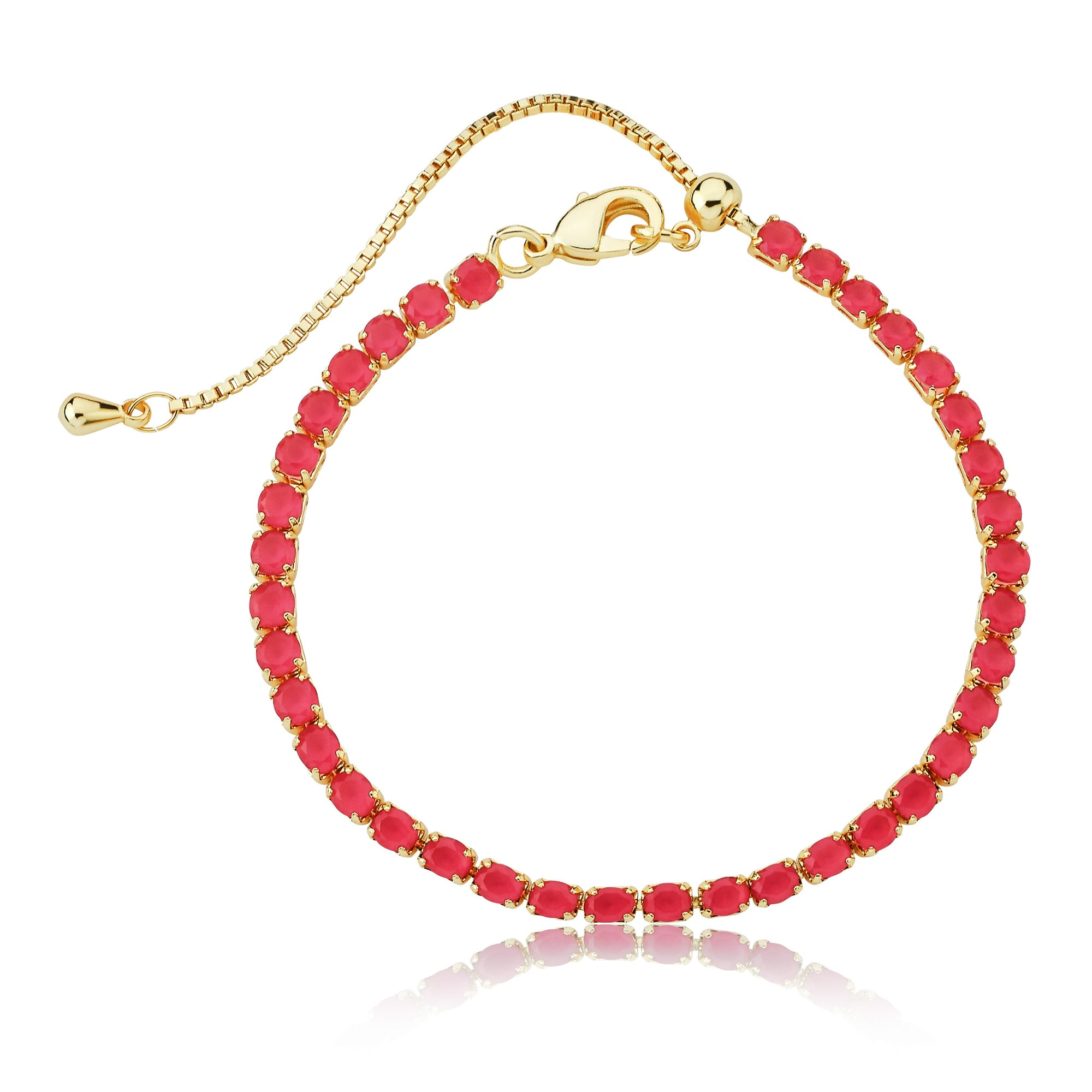 Twin Star 14K Gold Plated Hot Pink Tennis Bracelet