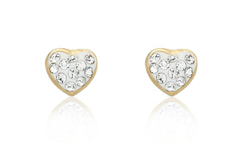 Twin Star Molly Glitz of Heart Gold Plated White Crystal Heart Stud Earring