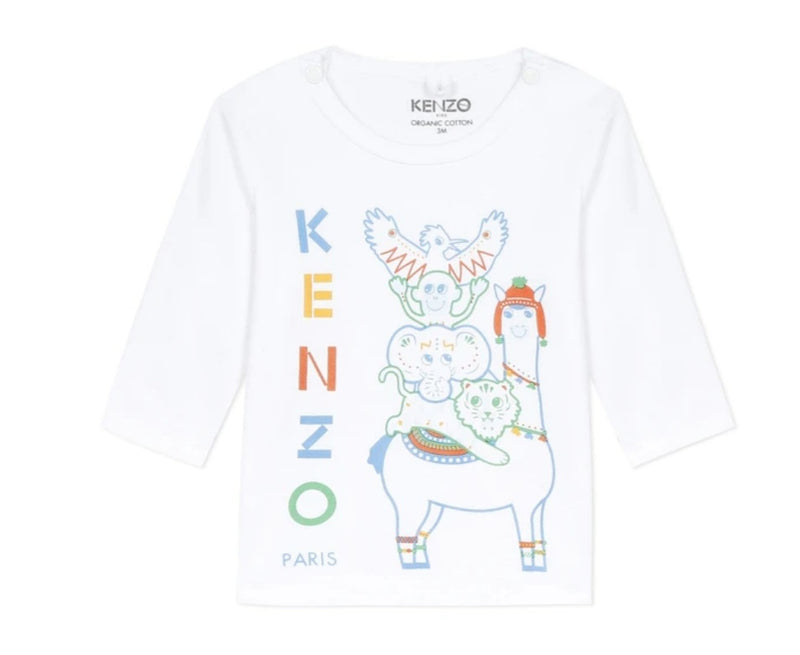 Kenzo White/Blue Logo T-shirt with animals