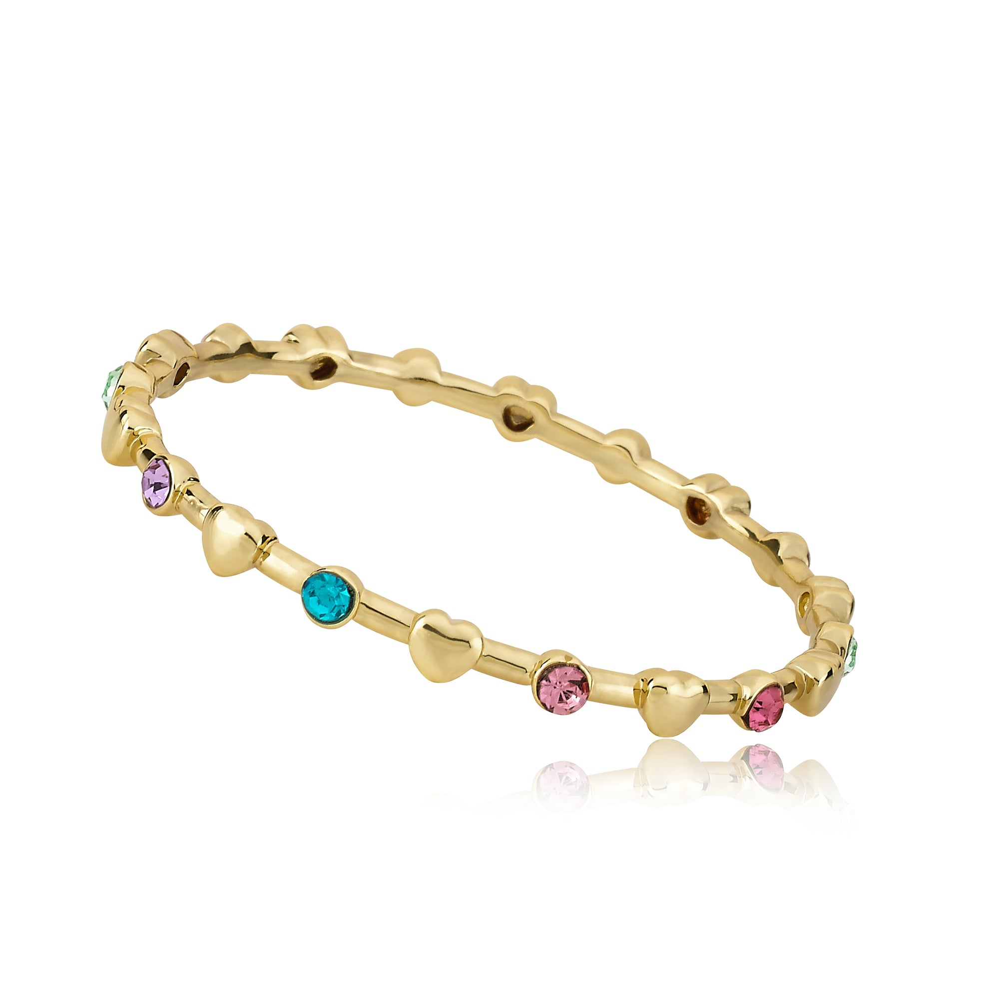 Twin Star LMTS Stackable Stunners 14k Gold Plated Multi Color Stones & Flower Station Bangle