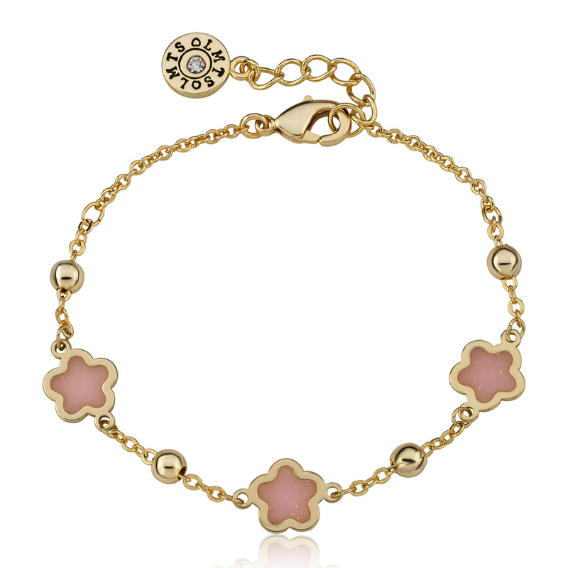 "Twin Star LMTS 14k Gold Plated Pink Transparent Triple Flower Chain Bracelet -4.5"" w/ Extention"