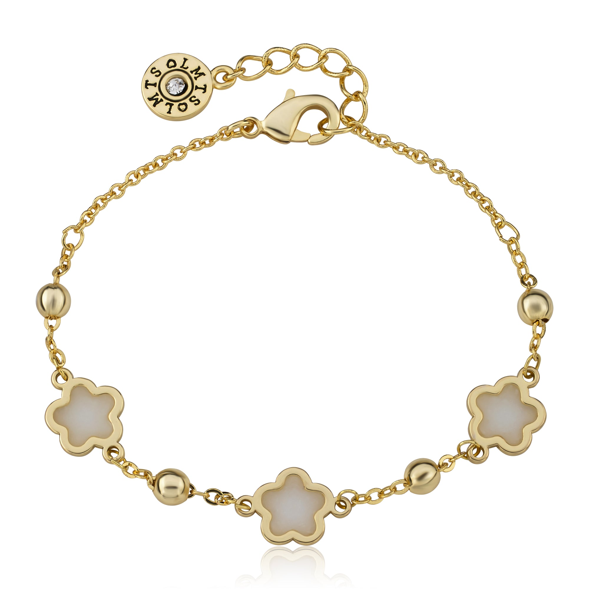 "Twin Star LMTS 14k Gold Plated White Transparent Triple Flower Chain Bracelet -4.5"" w/ Extention"