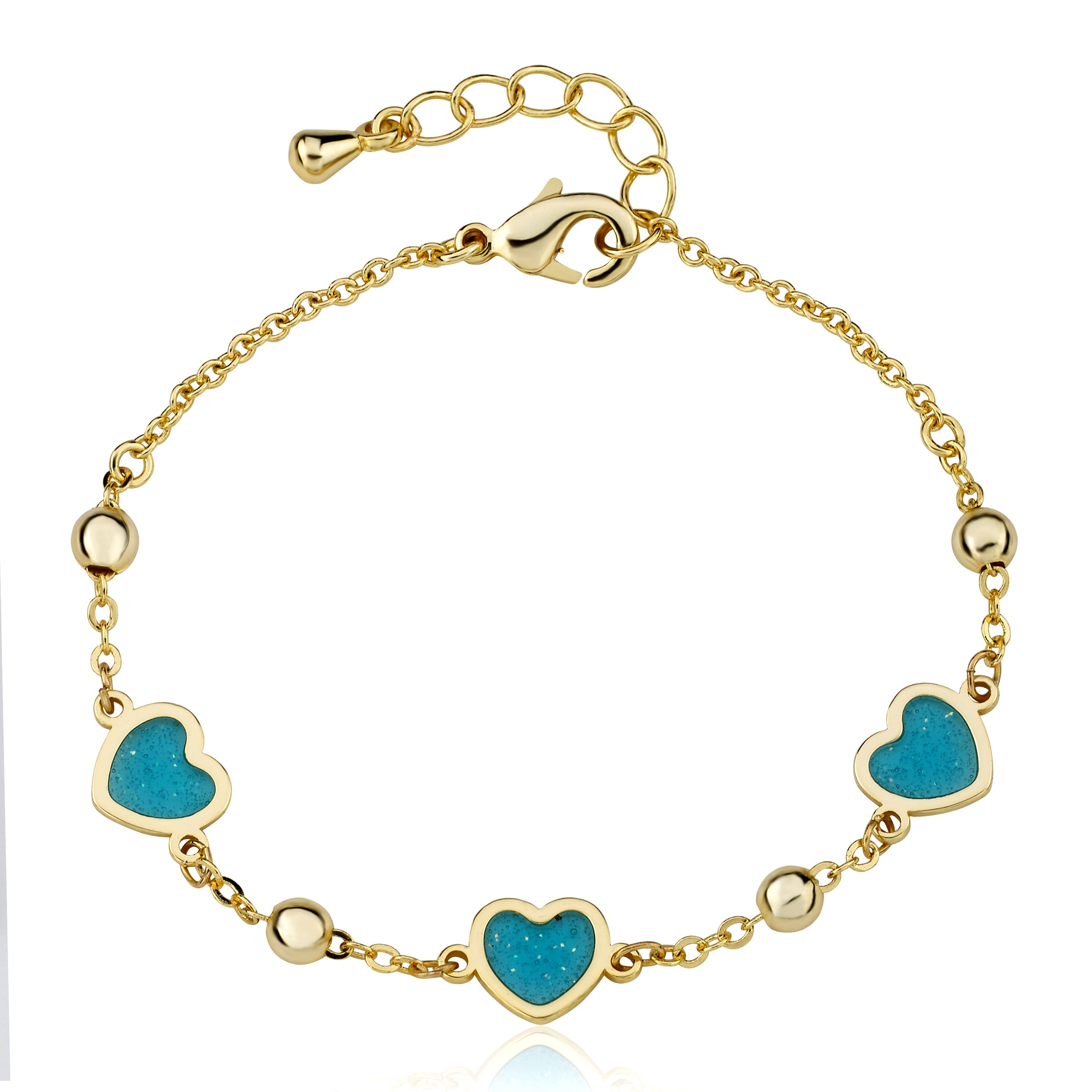 "Twin Star LMTS 14k Gold Plated Aqua Transparent Triple Heart Chain Bracelet -4.5"" w/ Extention"