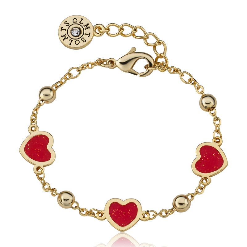 "Twin Star LMTS 14k Gold Plated Red Transparent Triple Heart Chain Bracelet -4.5"" w/ Extention"