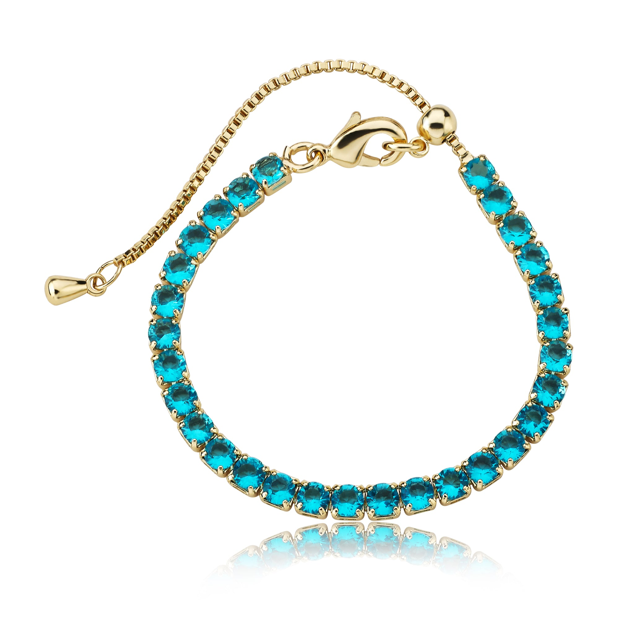 Twin Star 14K Gold Plated Aqua Tennis Bracelet