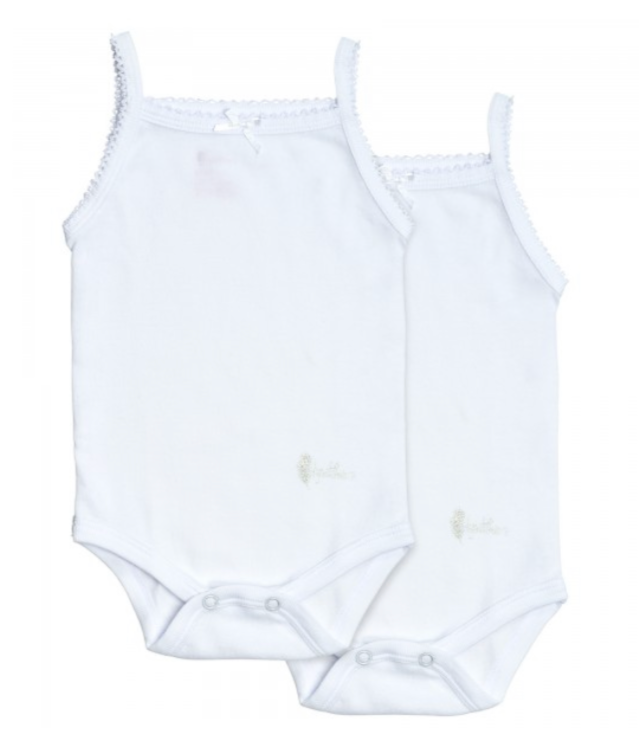 Feathers Baby Girl Rib White Onesie